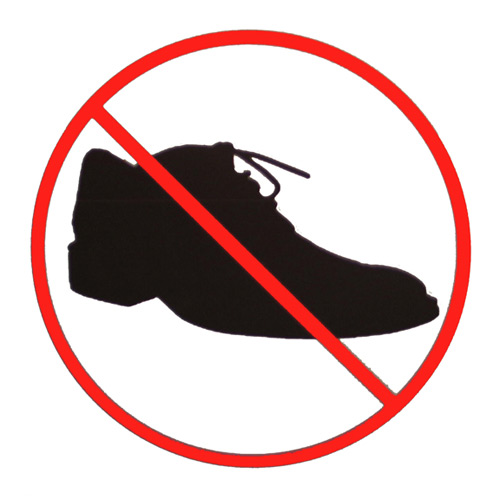 No Shoes Allowed Sign Produced For The Malmö Art Academy 10 Years Anniversary Exhibition At Rooseum